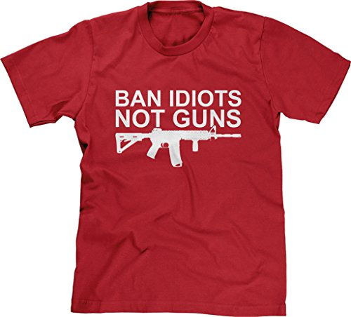 Blittzen Mens T-shirt Ban Idiots Not Guns, 2XL, - Ban Red