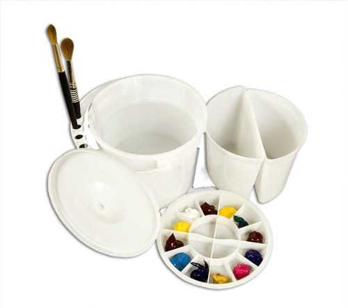 Creative Mark Dupre Water Bucket Basin with Palette and Lid - Dual Water Basins and Slots for Holding Brushes, Deep Well Palette with 12 Perimeter and Four Interior Wells by Creative Mark