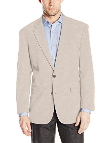 Louis Raphael Men's Tailored Classic Fit 2 Button Center Vent Jacket, Stone, 42 Regular