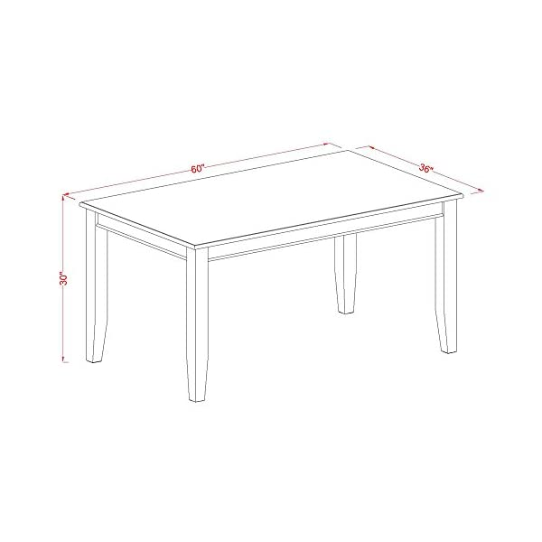 East West Furniture 6-Pc Modern Dining Table Set Included a Rectangular Dining Table and 4 Wood Dining Chairs Plus a…