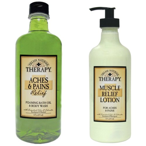 Village Naturals Muscle Aches & Pains Relief Lotion & Foaming Bath Oil Body Wash Relaxing (Relaxing Shower And Bath Gel)