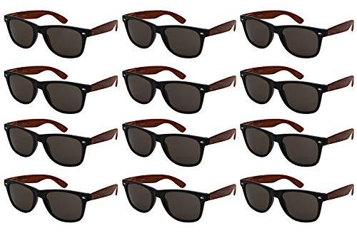 Edge I-Wear 12-Pack Vintage Men Women Plastic Horned Rim Sunglasses Sping Hinges Wood Pattern ()
