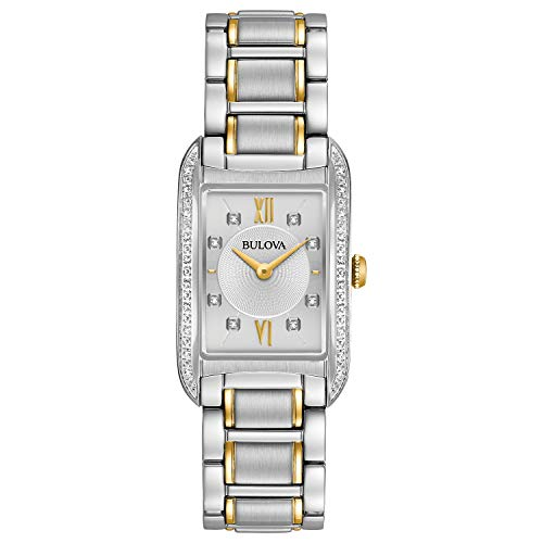 Bulova Womens 98R227 Quartz Two-Tone Bracelet 34.5mm Watch (Renewed)