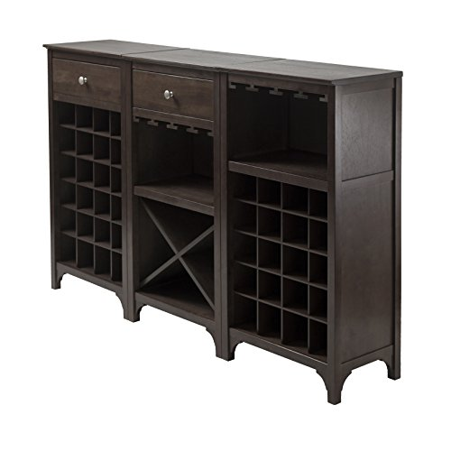 Winsome 3-Piece Ancona Wine Cabinet Modular Set, Black Review