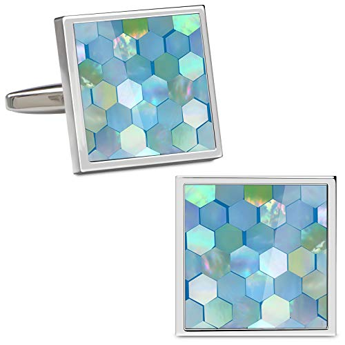 VIILOCK Mother of Pearl Mix Colorful Honeycomb Cufflinks Set with Gift Bag (Sky - Link Of Cufflinks Pearl Mother