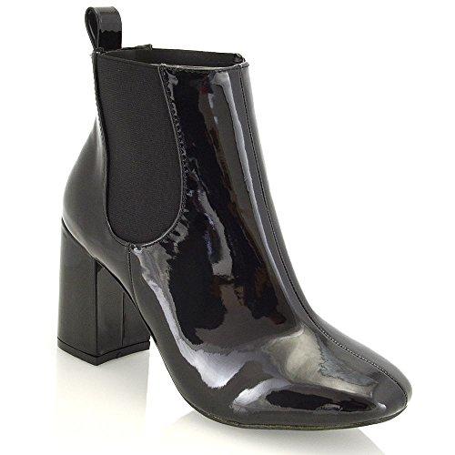 Essex Glam Mujeres Sintético Elástico High Block Heel Chelsea Botas Negro Patente