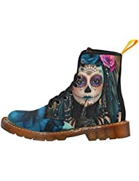 Shoes Bird Skull Surreal Day Of The Dead Lace Up Martin Boots For Women