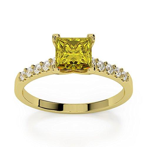 Or jaune 18carats 1CT G-H/VS sertie de diamants taille princesse Saphir Jaune et bague de fiançailles Agdr-1210