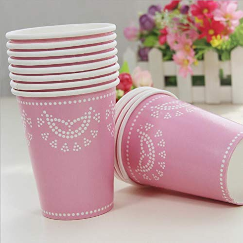 Lannmart 12pcs Lace Disposable Paper Cups 270ml Wedding Supp