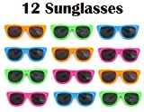 Dazzling Toys 12 Pairs of Neon Colored Party Sunglasses | Vintage Party Eyewear ,Shades ,Sunglasses for Children