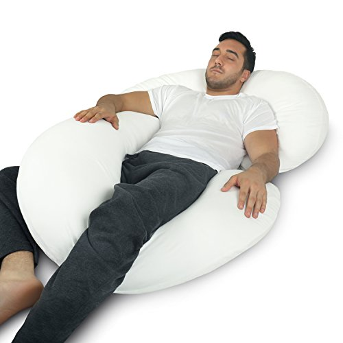 Body Comfort Support Pillow U (PharMeDoc Full Body Pillow - C Shaped Body Pillow for Men and Women - includes 100% Cotton Cover)