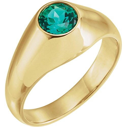 Bonyak Jewelry Lab-Created Emerald 14k Yellow Gold 6.5mm Round Chatham Created Emerald Ring - Size 10.5 ()