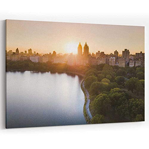 Actorstion Sunset from Central Park Reservoir in New York Aerial View Canvas Art Wall Dcor,Home Decor