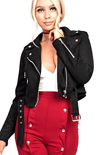 Collarless Suede Jacket - IKRUSH Women's ettie Biker Faux Suede Jacket in Black Size L