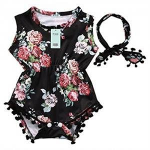 Cute Adorable Floral Romper Baby Girls Sleeveless Tassel Romper One-pieces +Headband Sunsuit Outfit Clothes (0-6 Months, (Cute Baby Girl Outfits)