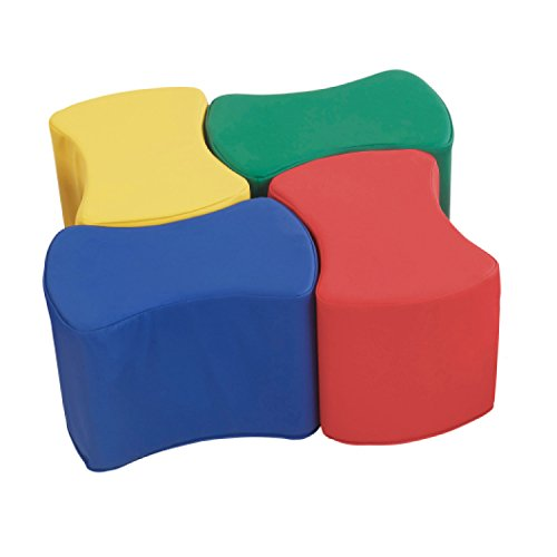 ECR4Kids SoftZone Butterfly Stools, Soft Foam Modular Seating Set for Toddlers (4-Pack) - Foam Set Stool