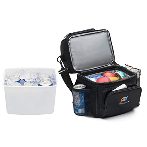 (MOJECTO Small Cooler Bag with Leak-Proof Hard Liner Bucket. Two Compartments, StrongFabric, Thick Foam Insulation, Strong Durable Double Zippers. Carry Your Food, Medicines)