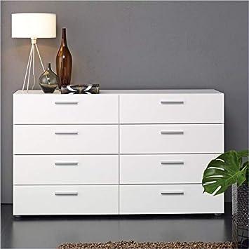 Atlin Designs Modern 8 Drawer Double Dresser With Bar Handles In White Furniture Decor