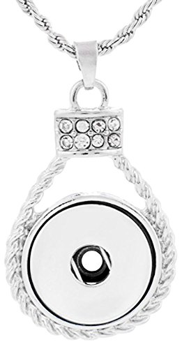 Snap Button Pendant with Crystals on a Chain fits 18 mm to 20 mm Snap Buttons - 18mm Rope Chain