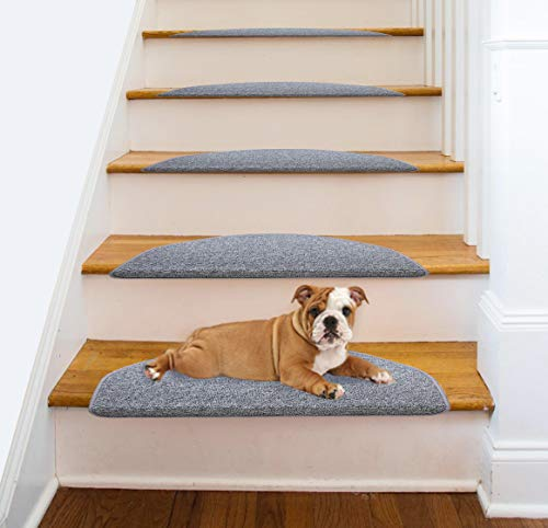 Comme Rug Non Slip Bullnose Carpet Stair Treads Stair Rugs Step Treads Stair Pads Stair Covers,Non Skid Self Adhesive with Stair Nosing for Wood Stair,9.5Inch x 26Inch Gray, Set of 13 (Stair Tread Bullnose)