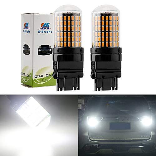 EverBright Extremely Bright 3250Lumen 3157 LED Brake Light Bulbs, Canbus No Hyper Flash for Camper Trailer RV MPV 3156 3056 3057 4157 Brake Led Bulb, 3014 Chipset 144SMD White (Pack - Bulbs Hyper White
