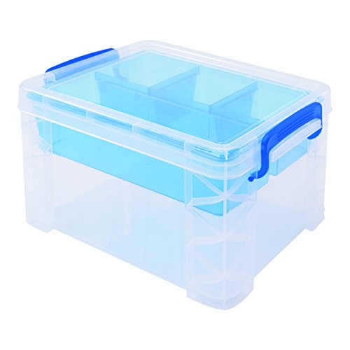 Super Stacker Divided Storage Box with Removable Tray, 10.12