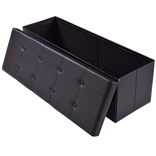 AuAg  43 Folding Storage Ottoman Bench Faux Leather Toy Box/Chest Coffee Table/Foot Rest/Storage Easy to Assemble (Black, 43)