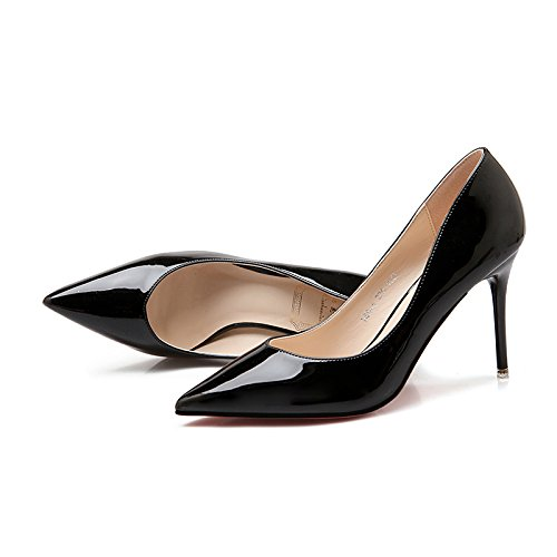 de de chica único Punta y verano versátil En alto fino negro profesional zapatos tacón los zapato primavera Negra 39 w1zIq77gn