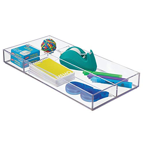 mDesign Plastic Divided Drawer Organizer for Home Office, Desk Drawer, Shelf, Closet - Holds Highlighters, Pens, Scissors, Adhesive Tape, Paper Clips, Note Pads - 4 Sections, 16 Long - Clear
