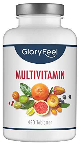Multivitamin Hochdosiert - 450 vegane Tabletten (15 Monate) - VERGLEICHSSIEGER 2020* - Alle Wertvollen A-Z Vitamine und Mineralstoffe - Laborgeprüft ohne Zusätze in Deutschland