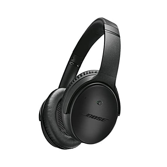 Bose QuietComfort 25 Headphones (wired, 3.5mm) 1 Blocks out the sounds you don't want to hear, so you can focus on the music you love. Bose Active EQ and TriPort technologies deliver crisp, clear, full-range sound with deep lows and soaring highs. Offers performance similar to Bose around-ear audio headphones when the battery runs out.