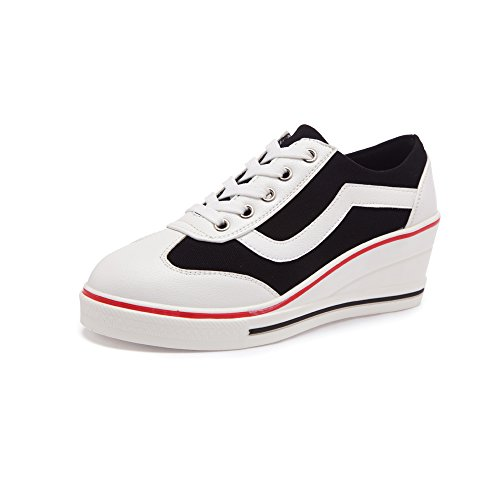 Women's Canvas Wedge Heeled Platform Fashion Sneaker Pump Shoes Black Label 37 - US 6.5