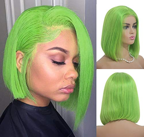 Benafee Lime Green Lace Front Human Hair Bob Wig Silky Straight Middle Part Short Bob Wigs Glueless Pre Plucked 180 Density Swiss Lace Remy Hair Bob Wig 8 Inch