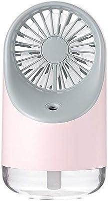 Color : Pink Air Cooler Summer Small Bedside Fan USB Charging Desktop Fan Night Light Low Noise Fan