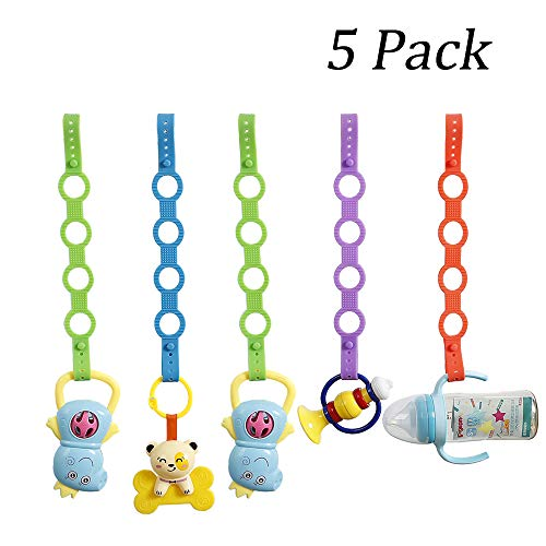 5 Pack Baby Pacifier Clips,Silicone Toy Safety Straps,Sippy Cup Strap for Stroller,High Chair,Cars,Hanging Baskets,5 - Cup Strap Sippy