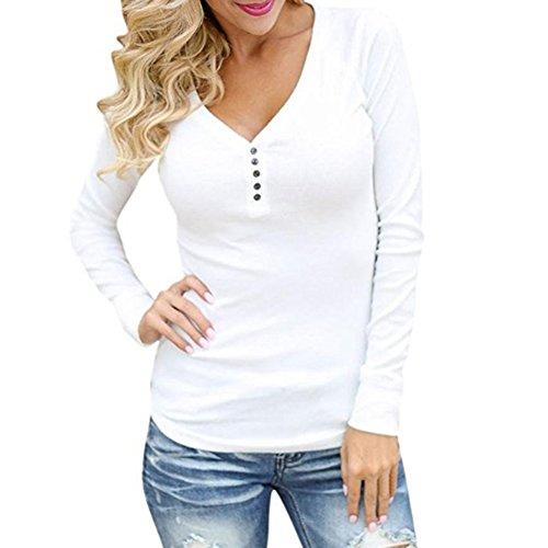 Col Pull Boutons Chemise Blanc C Longues tels V Hauts en Pulls Dcontracts Hibote Blouses Manches Femmes Sexy EwUq8pZ
