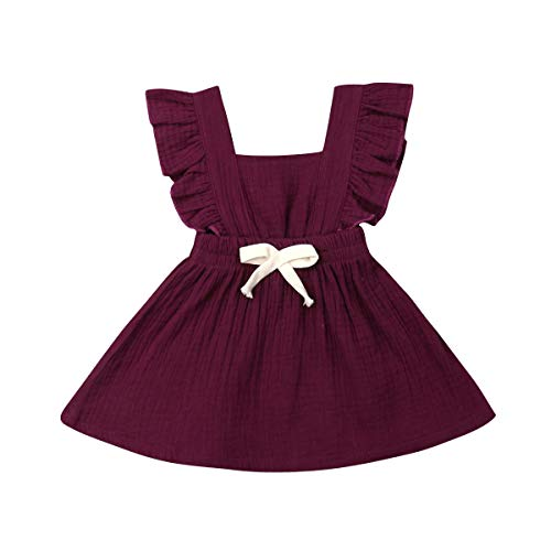 Hwaikun Baby Girl Tutu Sleeveless Skirt Toddler Flax Short Dress Infant Bowknot Tunic Dress for 0-3Years (Wine, 0-6mos)
