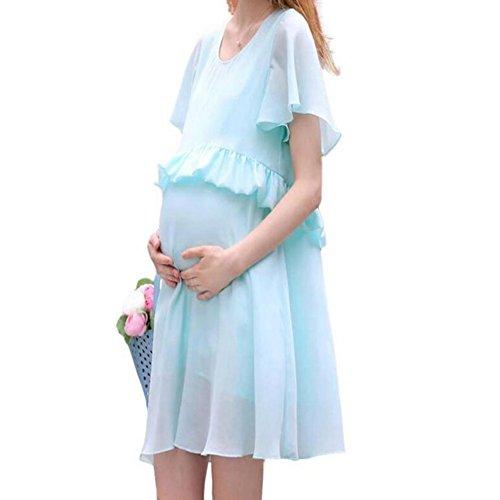 Hibote cuello redondo manga corta enfermería falda vestido de verano de maternidad Azul claro