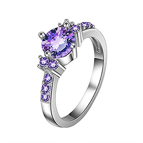 ICHQ Rings, Fashion Romantic Natural Concise Purple Crystal Gem Engagement Wedding Ring Micro Inlaid Couple Jewelry (Purple, 6) ()