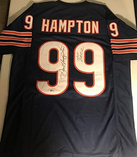 Dan Hampton Autographed Signed hof 2002 Chicago Bears Navy Football Jersey Beckett Co - Certified Signature