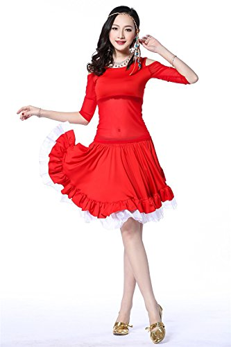 Danza del vientre Disfraz Set Tribal Off Shoulder Top+Yarn Chromed Falda Red