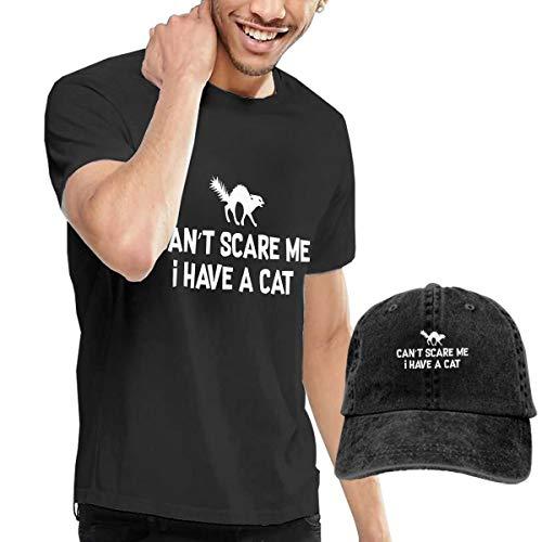 Black Cat Halloween Men's Short Sleeve Shirt Tees with Cowboy Baseball Cap for $<!--$26.47-->