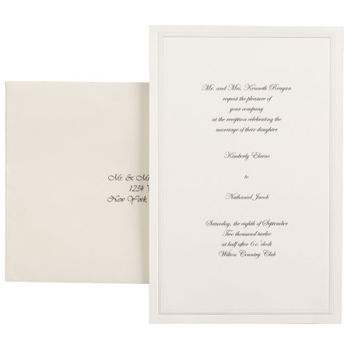 Simplicity Wedding Invitation - Wilton 100-Pack Single Border Invitation, Ivory