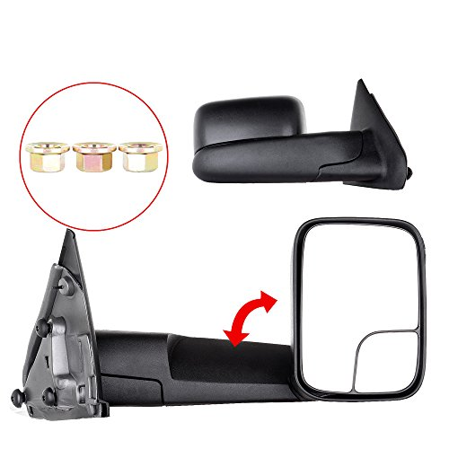 Cciyu Left Right Towing Mirrors Replacement Fit For 2002 2008 Dodge Ram 1500 2003 2009 Dodge Ram 2500 3500 Manual Telescopic Rear View Side Mirror Pair Set