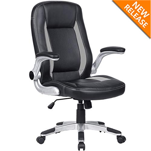 YAMASORO Ergonomic Leather Executive Office Chair, High Back Computer Desk Chair,Swivel Chair Flip-Up Arms and Back Support Black by YAMASORO