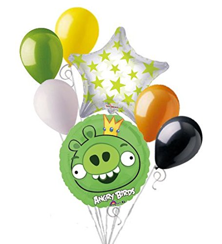 7pc Green King Pig Angry Birds Balloon Bouquet Party Decoration Video Game Movie (Pig Green King)