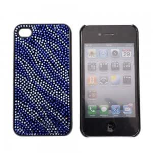 Rhinestone Hard Plastic Back Case Cover for iPhone 4 Blue-white Stripes