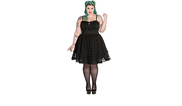 426568b192b Amazon.com  Spin Doctor Plus Size Black Gothic Lace Silver Brooch Vampire  Zylphia Mini Dress (TAGGED 2XFITS1X)  Clothing
