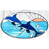 Dolphin Oval in Real Stained Glass