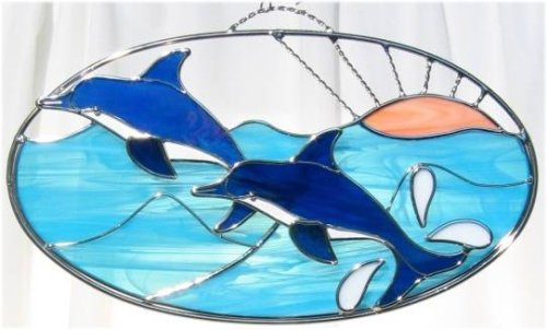 (Dolphin Oval in Real Stained Glass)